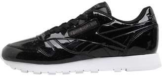 dd4968bcc2edd0 Reebok Classics Womens Classic Leather Patent Trainers Pearl Black White
