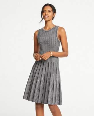 Ann Taylor Petite Jacquard Pleated Flare Sweater Dress