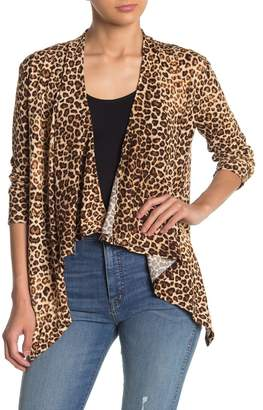 Emory Park Draped Front Leopard Cardigan