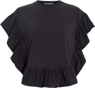 See by Chloe Black Ruffle T-Shirt