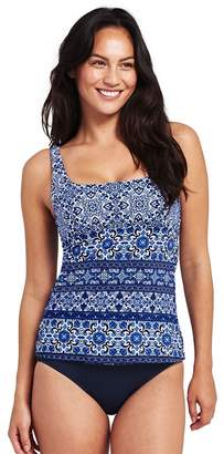Womens Beach Living Long SquareneckTile Print Tankini Top - 14 - BLUE Lands End With Credit Card Cheap Price Free Shipping Nicekicks Discount Big Discount Pre Order Sale Online IgvBb