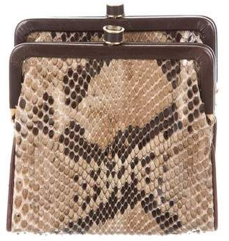Bottega Veneta Leather-Trimmed Python Clutch