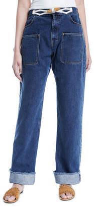 J.W.Anderson Toggle-Waist Wide-Leg Cuffed Jeans