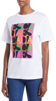 Escada Crewneck Short-Sleeve Multicolor Logo-Print Tee