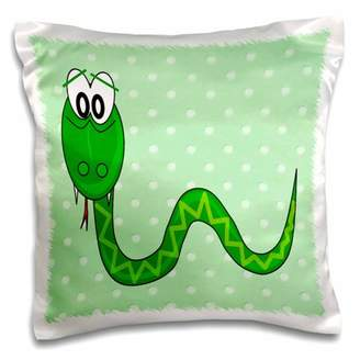 Green Baby 3dRose Print of Adorable Snake On Green Dots - Pillow Case, 16 by 16-inch