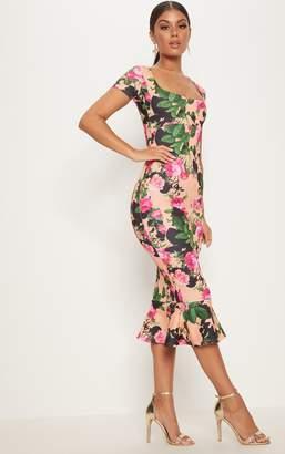 PrettyLittleThing Peach Floral Square Neck Frill Hem Midi Dress