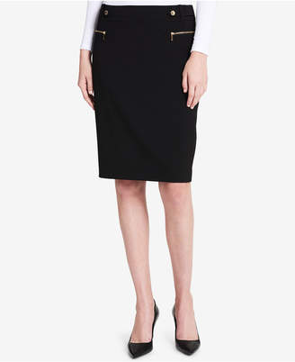 Calvin Klein Zipper-Pocketed Pencil Skirt