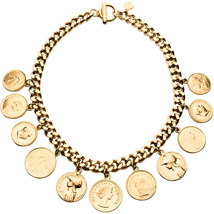 Ben-Amun Gold Coins On Thick Chain