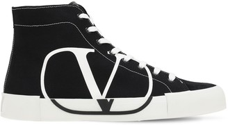 Valentino Vlogo High Top Canvas & Suede Sneakers