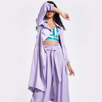 River Island Womens Light purple satin tie waist trench coat