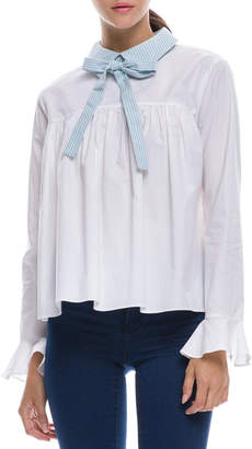 ENGLISH FACTORY Long-Sleeve Shirred Blouse w/ Bow Detail