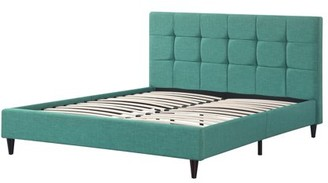 AC Pacific Modern Upholstered Square Stitched Platform Bed with Wooden Slats, Blue (Queen)