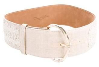 Oscar de la Renta Wide Embroidered Waist Belt