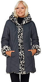 Dennis Basso Faux Fur & Water Resistant PufferReversible Coat