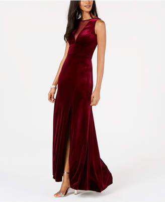 Night Way Nightway Plunging Illusion Velvet Gown