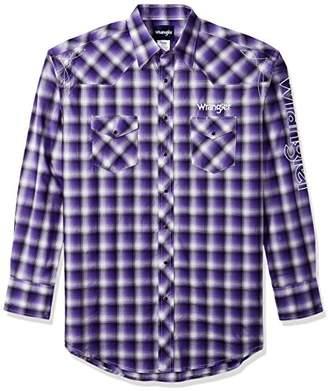Wrangler Men's Size Western Logo Tall Long Sleeve Snap Front Shirt