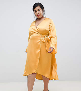 Lost Ink Plus Wrap Front Midi Dress In Satin