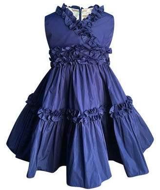 Helena Ruffle-Trim Taffeta Dress, Size 7-14