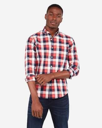 Express Slim Plaid Button-Down Soft Wash Shirt