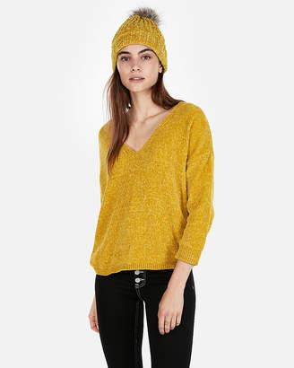 Express Velvet Chenille V-Neck Sweater