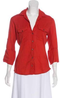 James Perse Collared Button-Up Blouse