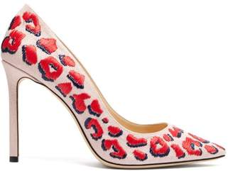 Jimmy Choo Romy 100 Leopard Embroidered Linen Pumps - Womens - Pink Multi