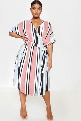 PrettyLittleThing Womens Multi Stripe Wrap Midi Dress - Pink