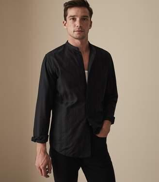 Reiss Yonni Striped Grandad Collar Shirt