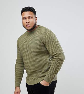 Asos DESIGN PLUS Textured Sweater In Khaki
