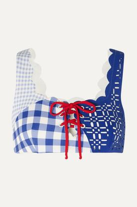 Marysia Swim Wainscott Scalloped Lace-up Gingham Stretch-crepe Bikini Top - Blue