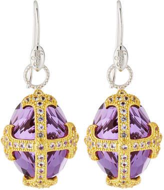 Jude Frances Fleur-over-Stone Drop Earrings in Amethyst Quartz