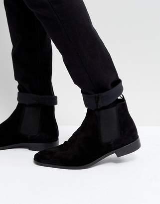 Dune Chelsea Boots In Black Suede