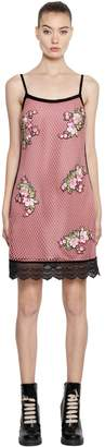 House of Holland Mini Mesh Dress W/ Floral Patches