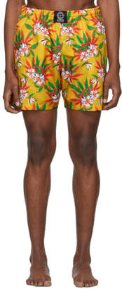 SSS World Corp Yellow Weed Hibiscus Swim Shorts