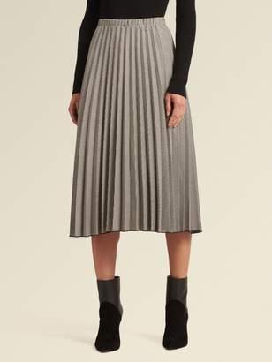 DKNY Houndstooth Pleated A-Line Skirt