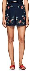 Zimmermann Women's Laelia Floral Cross-Stitched Linen-Cotton Shorts - Navy