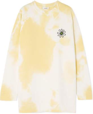 Ganni Appliquéd Tie-dyed Cotton-jersey Sweatshirt - Yellow