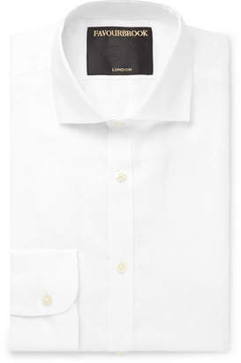 White Cutaway-Collar Slub Linen Shirt