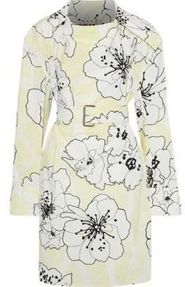 Marni Belted Floral-print Cotton-poplin Tunic