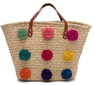 Thacker New York Electra Leather Trimmed Straw Pompom Tote