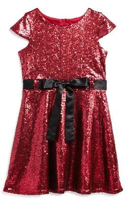 Us Angels Girls' Sequin Dress with Satin Sash - Little Kid