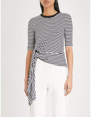 Mo&Co. Tie-front striped cotton-jersey T-shirt