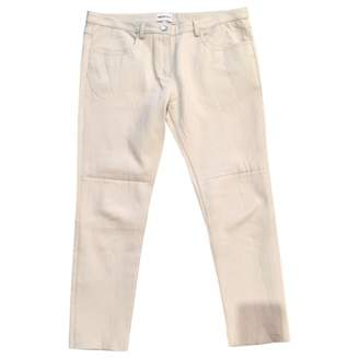 American Retro White Leather Trousers for Women