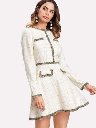 Shein Contrast Trim Grid Tweed Dress