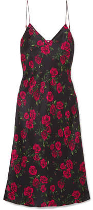 CAMI NYC The Raven Floral-print Silk-charmeuse Dress - Red