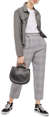 Topshop Cham Linen Checked Trouser