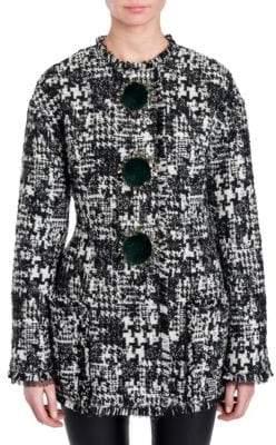 Dolce & Gabbana Faux-Fur Trimmed Tweed Jacket