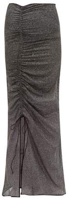 Oseree Shine Ruched Metallic Tulle Maxi Skirt - Womens - Black