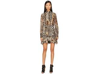 Just Cavalli Long Sleeve Mixed Animal Print Dress Women's Dress