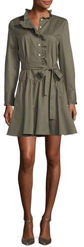 Kate Spade New York Ruffle-Neck Long-Sleeve Belted Poplin Dress